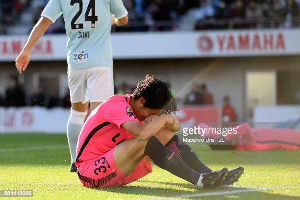 Mu Kanazaki of Kashima Antlers reacts after missing a chance during the J.League J1 match between Jubilo Iwata and Kashima Antlers at Yamaha Stadium...