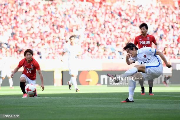 Mu Kanazaki of Kashima Antlers scores the opening goal during the J.League J1 match between Urawa Red Diamonds and Kashima Antlers at Saitama Stadium...