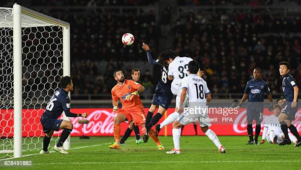 Mu Kanazaki of Kashima Antlers scores their second goal during the FIFA Club World Cup Play-off for Quarter Final match between Kashima Antlers and...