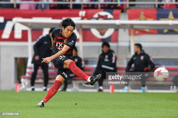 Mu Kanazaki of Kashima Antlers shoots at goal during the JLeague J1 match between Kashima Antlers and Urawa Red Diamonds at Kashima Soccer Stadium on...