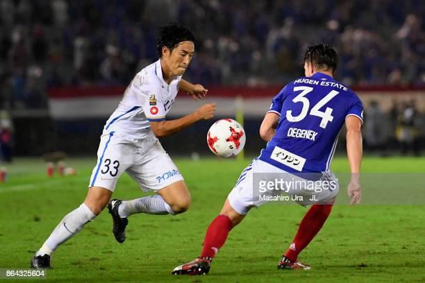 Mu Kanazaki of Kashima Antlers takes on Milos Degenek of Yokohama FMarinos during the JLeague J1 match between Yokohama FMarinos and Kashima Antlers...
