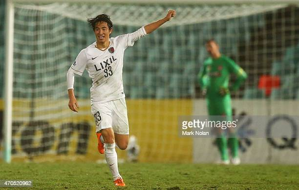 Mu Kanazaki of Kashima celebrates scoring a goal during the Asian Champions League match between the Western Sydney Wanderers and Kashima Antlers at...