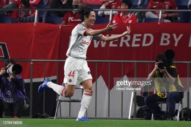 Mu Kanazaki of Nagoya Grampus celebrates scoring his team's first goal during the J.League Meiji Yasuda J1 match between Urawa Red Diamonds and...