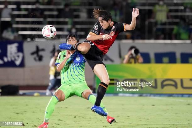 Mu Kanazaki of Nagoya Grampus kicks the ball during the J.League Meiji Yasuda J1 match between Shonan Bellmare and Nagoya Grampus at the Shonan BMW...