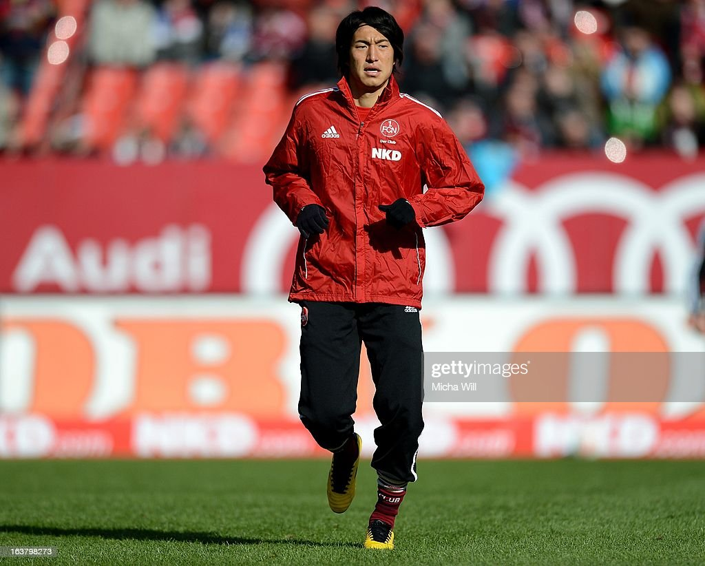 Mu Kanazaki of Nuernberg warms up prior to the Bundesliga match between 1. FC Nuernberg and FC Schalke 04 at Grundig-Stadion on March 16, 2013 in Nuremberg, Germany.