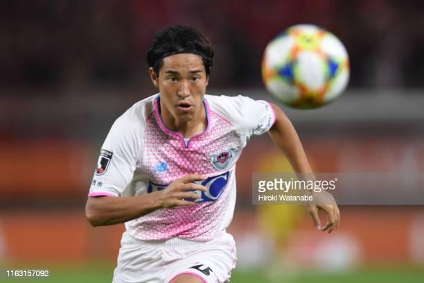 Mu Kanazaki of Sagan Tosu in action during the J.League J1 match between Kashima Antlers and Sagan Tosu at Kashima Soccer Stadium on July 20, 2019 in...