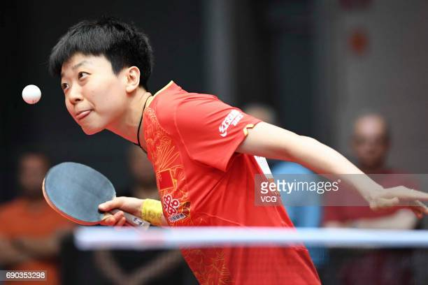Mu Zi of China competes during women qualification on day 2 of 2017 World Table Tennis Championships at Messe Duesseldorf on May 30, 2017 in...