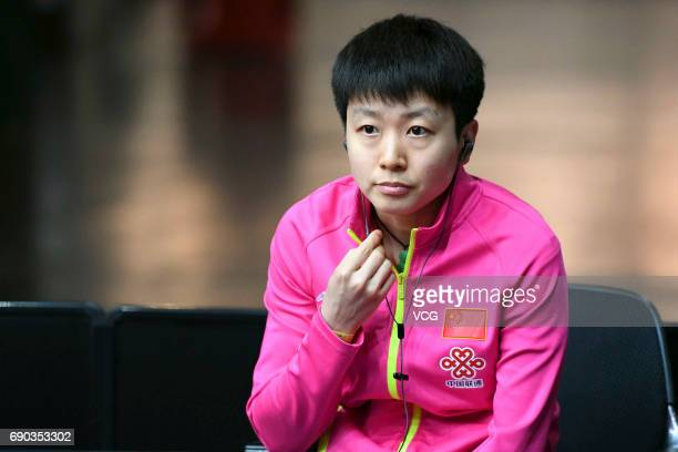 Mu Zi of China watches women qualification on day 2 of 2017 World Table Tennis Championships at Messe Duesseldorf on May 30, 2017 in Dusseldorf,...