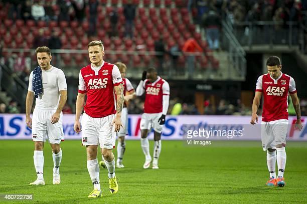 Muamer Tankovic of AZ Alkmaar, Mattias Johansson of AZ Alkmaar, Celso Ortiz of AZ Alkmaar during the Dutch Eredivisie match between AZ Alkmaar and FC...