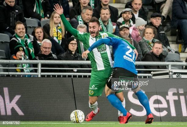 Muamer Tankovic of Hammarby IF and Andreas Bengtsson of Halmstad BK during the Allsvenskan match between Hammarby IF and Halmstad BK at Tele2 Arena...