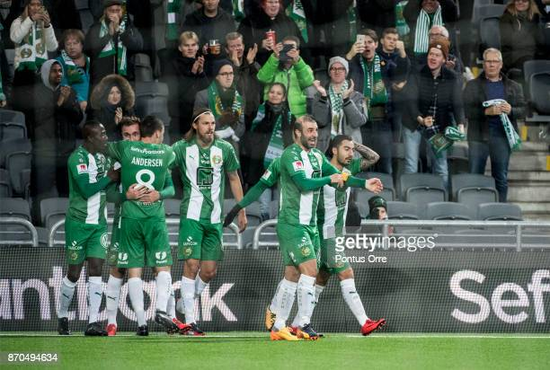 Muamer Tankovic of Hammarby IF celebrates after scoring his teams first goal during the Allsvenskan match between Hammarby IF and Halmstad BK at...