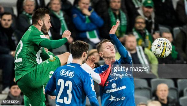 Muamer Tankovic of Hammarby IF during the Allsvenskan match between Hammarby IF and Halmstad BK at Tele2 Arena on November 5 2017 in Stockholm Sweden