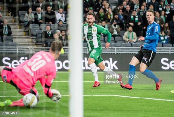Muamer Tankovic of Hammarby IF scores the opening goal to Hammarby IF during the Allsvenskan match between Hammarby IF and Halmstad BK at Tele2 Arena...
