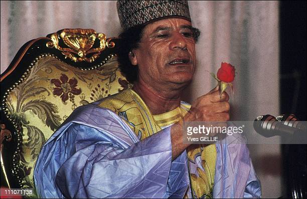 Muammar al Ghadafi during an African summit in Tripoli Libya in 1999