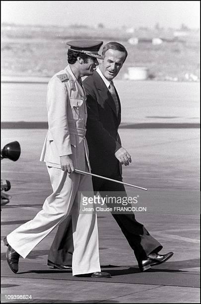 Muammar Gaddafi welcomes Hafez El Assad in 1978.