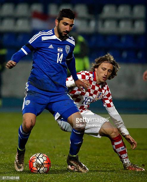 Muanes Dabbur of Israel in action against Luka Modric of Croatia during the International Friendly match between Croatia and Israel at stadium...