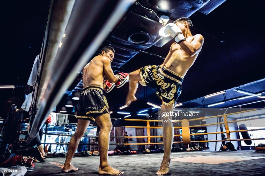 Muay Thai athletes training on the boxing ring : Stock Photo