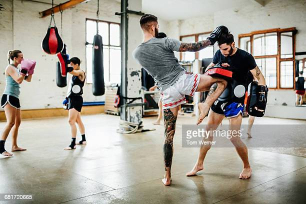 Muay thai boxer during training session