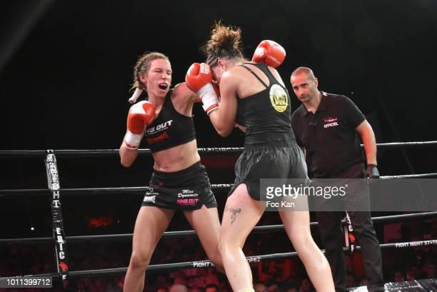 Muay Thai women Kick Boxers Mallaury Kalachnikof and Women World chamipon 2018 Laetitia Madjene fight during the Fight Night 2018 at the Citadelle of...