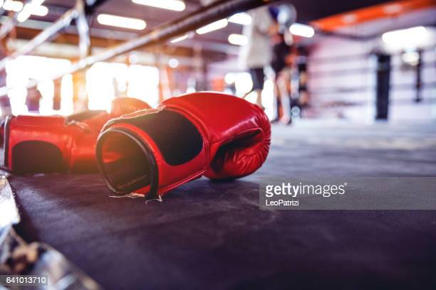 muay thai workout - boxing gloves close up - muay thai imagens e fotografias de stock