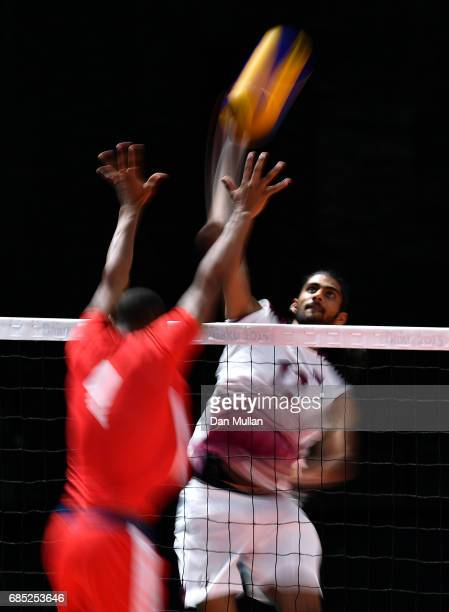 Mubarak Hammad of Qatar spikes the ball in the Mens Volleyball Group B match between Qatar and Morocco during day eight of Baku 2017 4th Islamic...