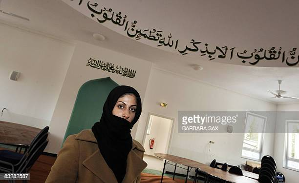 Mubashra Ilyas architect of the new Ahmadiya mosque in Berlin's PankowHeinersdorf district poses on October 15 2008 in the mosque's women's praying...