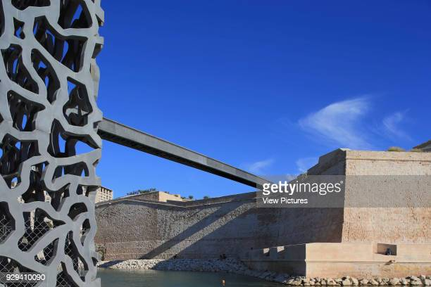 MuCEM Marseille France Architect Rudy Ricciotti 2013 Concrete detail juxtaposed with Fort SaintJean