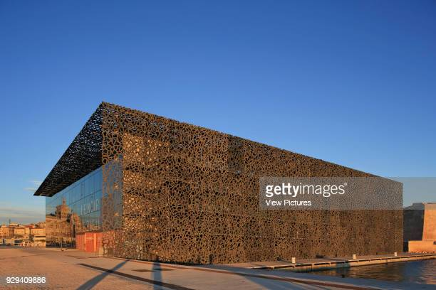 MuCEM Marseille France Architect Rudy Ricciotti 2013 Corner elevation with late afternoon light