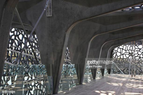 MuCEM Marseille France Architect Rudy Ricciotti 2013 Exterior corridor with view of concrete frame