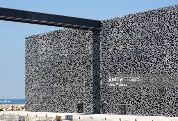 MuCEM Marseille France Architect Rudy Ricciotti 2013 Ornamental concrete facade and rooftop walkway