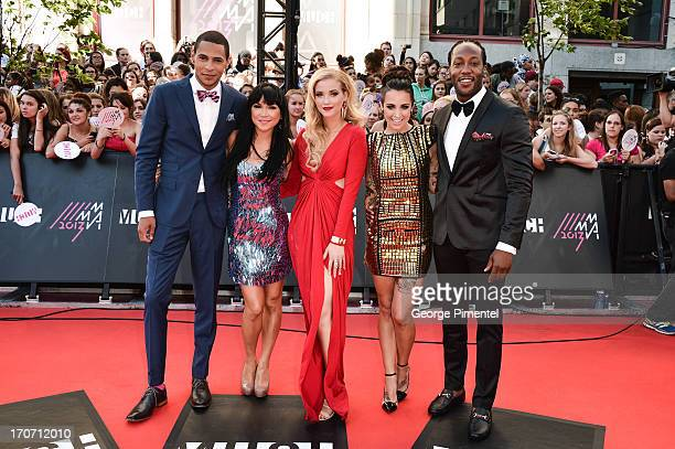 MuchMusic VJ's Scott Willat Lauren Toyota Liz Trinnear Phoebe Dykstra and Tyrone TREXXX' Edwards arrive at the 2013 MuchMusic Video Awards at the...