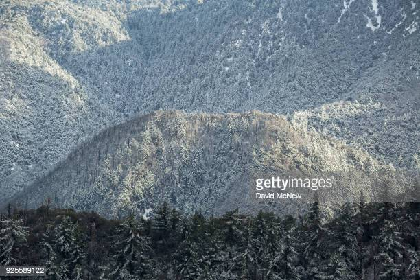 A muchneeded late winter storm brings snow to the San Gabriel Mountains on February 27 2018 in the Angeles National Forest near Los Angeles...
