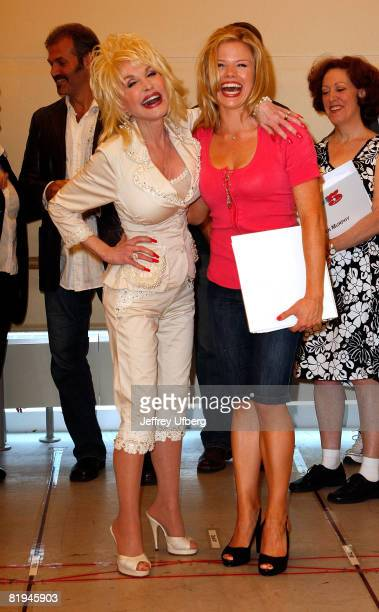 Mucisian/Actress Dolly Parton and Megan Hilty attends the press conference for 9 To 5 The Musical at the New 42nd Street Studios on July 15 2008 in...