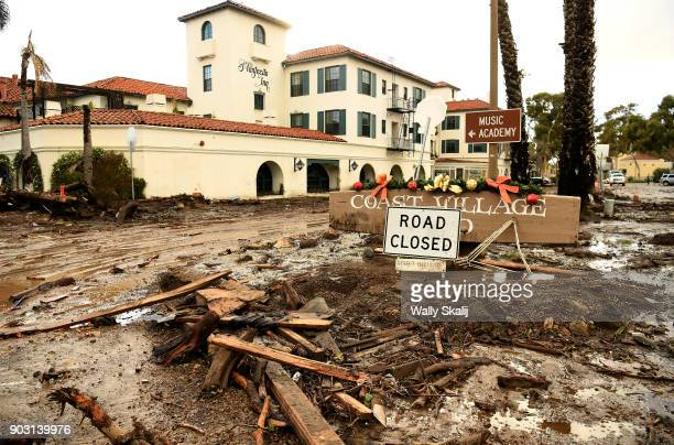 Mud and debris gather outside the Montecito Inn along Olive Mill Road in Montecito after a major storm hit the burn area January 9 2018 in Montecito...