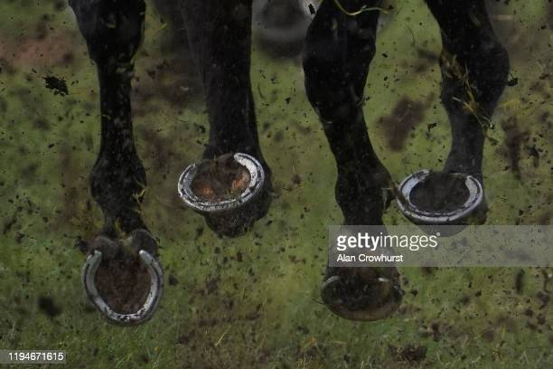 Mud and hooves at Newbury Racecourse on December 18, 2019 in Newbury, England.