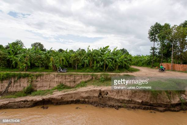 Mud banks of Koh Dach 'Silk Island' ferry terminal in the Mekong River Delta.