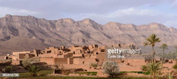 Mud brick village near Tamnougalt, Anti Atlas Mountains, Morocco