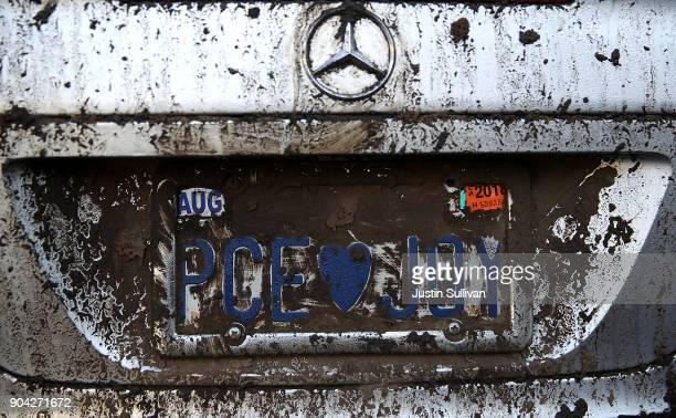 Mud covers the license plate of a car that was destroyed by a mudslide on January 12 2018 in Montecito California 17 people have died and hundreds of...