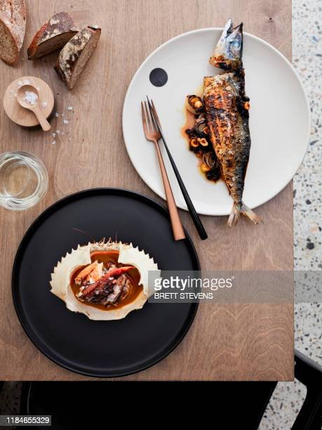 mud crab, coral sauce and sweet sour mackerel - part of stock pictures, royalty-free photos & images