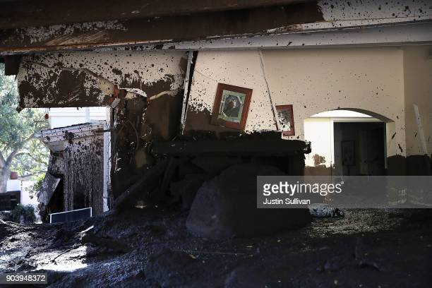 Mud fills a home that was destroyed by a mudslide on January 11 2018 in Montecito California 17 people have died and hundreds hundreds of homes have...