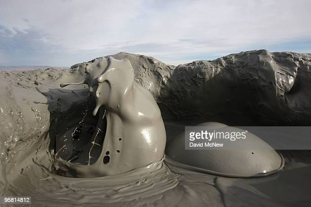 Mud flies as carbon dioxide gas from deep underground fissures escapes through geothermal mudpots or mud volcanoes over the southern San Andreas...