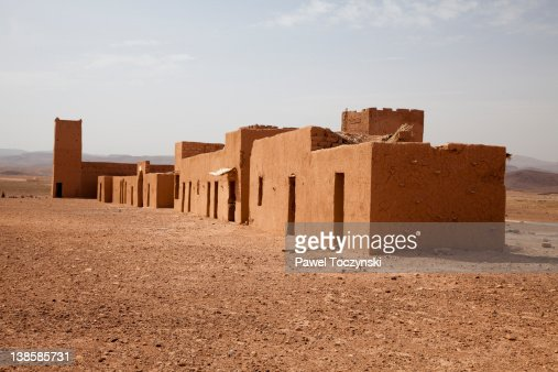mud houses on sahara desert near ouarzazate stock photo