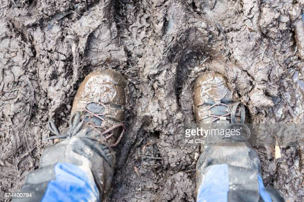 mud on the overland track - ankle boot stock pictures, royalty-free photos & images