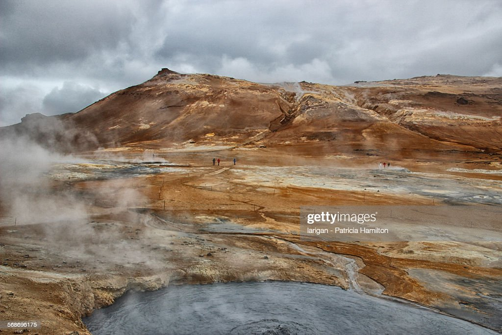 Mud pools and fumaroles at Hverir : Stock Photo