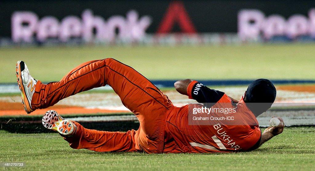 Mudassar Bukhari of The Netherlands catches Brendon McCullum of New Zealand during the New Zealand v Netherlands match at the ICC World Twenty20 Bangladesh 2014 played at Zahur Ahmed Chowdhury Stadium on March 29, 2014 in Chittagong, Bangladesh.