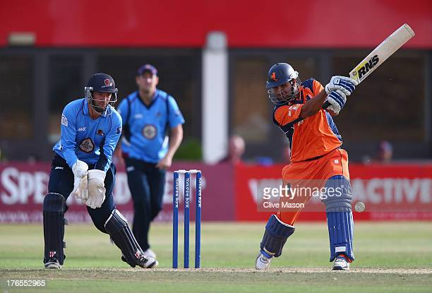 Mudassar Bukhari of the Netherlands in action batting as David Murphy of Northamptonshire looks on during the Yorkshire Bank 40 match between...