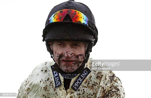 A muddy Andrew Thornton at Towcester racecourse on January 07 2016 in Towcester England
