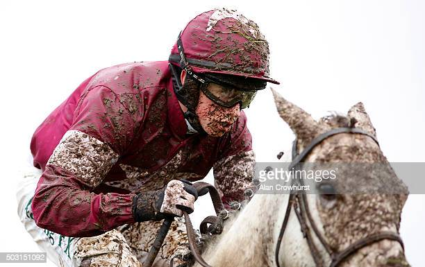 A muddy Bryan Cooper at Sandown racecourse on January 02 2016 in Esher England