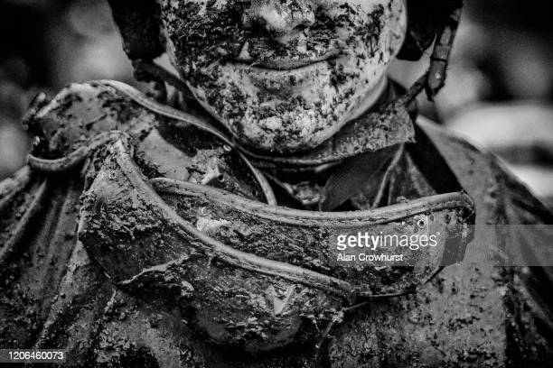 A muddy day for a jockey at Ascot Racecourse on February 15 2020 in Ascot England