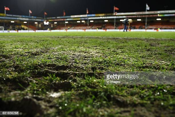 muddy fieldduring the Dutch Eredivisie match between Go Ahead Eagles and AZ Alkmaar at The Adelaarshorst on January 13 2017 in Deventer The...